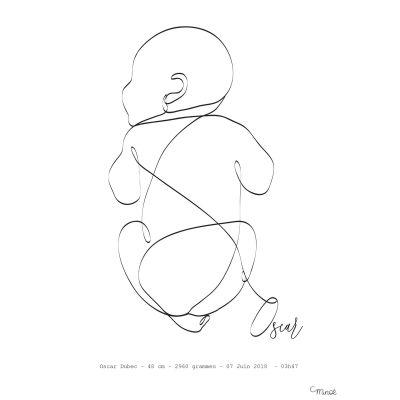 Affiche de naissance Bébé sur le ventre A4 (personnalisable)  par Minoé