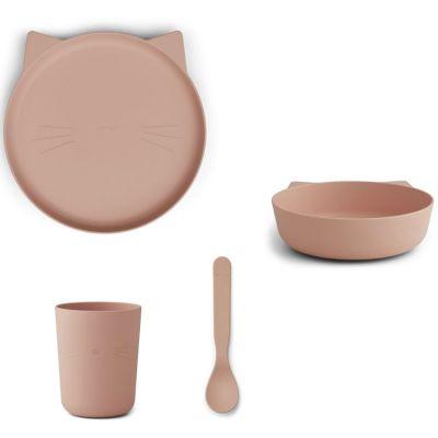 Coffret repas biodégradable Paul chat rose (4 pièces)  par Liewood
