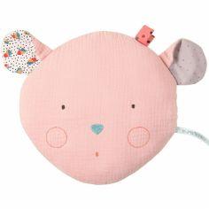 Coussin tête de souris rose Les jolis trop beaux (22 x 24 cm)