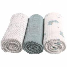 Lot de 3 langes en coton bio lama vert d'eau Mix & match (70 x 70 cm)