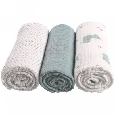 Lot de 3 langes en coton bio lama vert d'eau Mix & match (70 x 70 cm)  par Noukie's