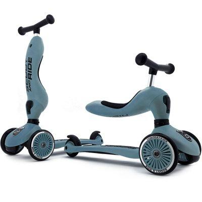 Porteur évolutif en trottinette Highwaykick 1 bleu acier  par Scoot And Ride