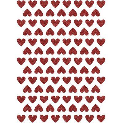 Stickers coeurs glitter rouge (18 x 24 cm)