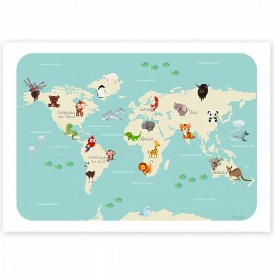 Affiche A3 Le monde des animaux  par Kanzilue