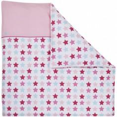 Housse de couette pour berceau Mixed Stars Pink (80 x 80 cm)