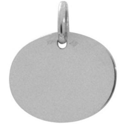 Plaque ovale unie à graver 16 x 12,9 mm (or blanc 750°)  par A.Augis