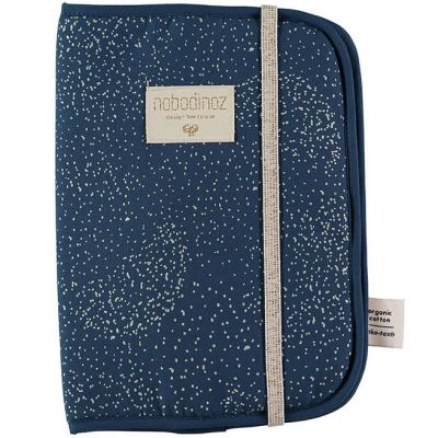 Protège carnet de santé Poema coton bio Gold bubble Night blue  par Nobodinoz