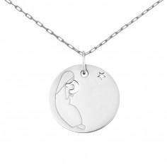 Collier chaîne 40 cm médaille Esquisses Vierge à l'Etoile 18 mm (or blanc 750°)