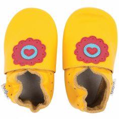 Chaussons en cuir Soft soles jaune dolie (9-15 mois)