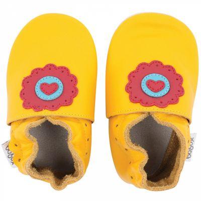 Chaussons en cuir Soft soles jaune dolie (9-15 mois)  par Bobux