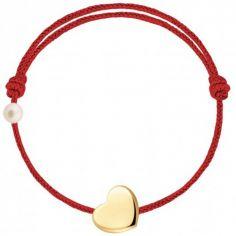 Bracelet cordon Coeur et perle rouge (or jaune 750°)