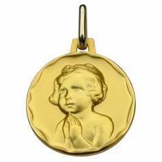 Médaille ronde Enfant à la prière 16 mm (or jaune 750°)