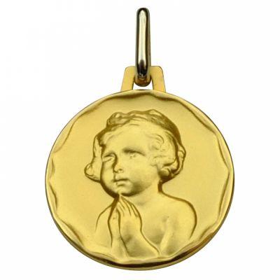 Médaille ronde Enfant à la prière 16 mm (or jaune 750°)  par Premiers Bijoux
