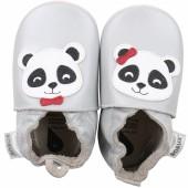 Chaussons bébé en cuir Soft soles Panda gris (3-9 mois) - Bobux