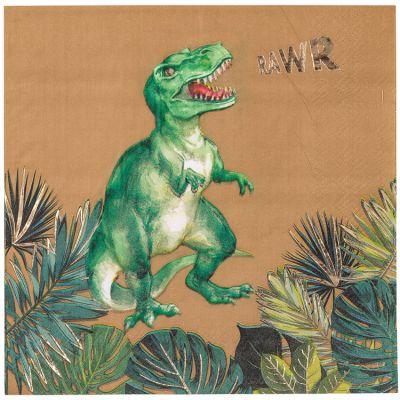 Lot de 16 serviettes en papier Dinosaure Party  par Arty Fêtes Factory