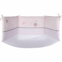 tour de lit rose p le avec fond petit lapin d 39 hiver pour lits 60 x 120 cm ou 70 x 140 cm par. Black Bedroom Furniture Sets. Home Design Ideas