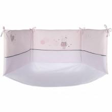 Tour de lit rose ple avec fond petit lapin d 39 hiver pour for Petit lit pour nouveau ne
