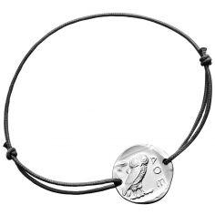 Bracelet cordon noir Chouette d'Athènes 18 mm (argent 950°)