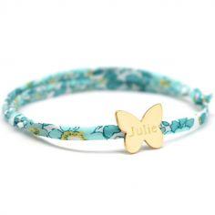 Bracelet cordon liberty Papillon personnalisable (plaqué or)