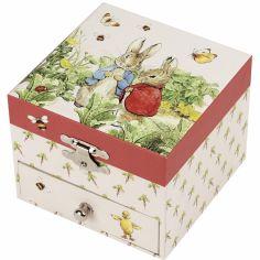 Boîte à bijoux musicale cube Pierre Lapin carotte