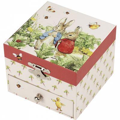 Boîte à bijoux musicale cube Pierre Lapin carotte  par Trousselier