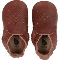 Chaussons bébé en cuir Soft soles frange marron (9-15 mois)