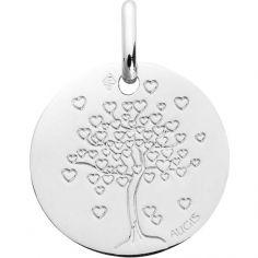 Médaille Arbre aux coeurs 16 mm personnalisable (or blanc palladié 750°)