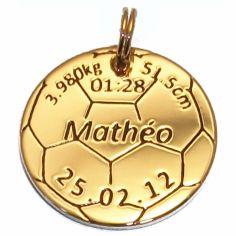 Médaille de naissance ballon de foot (plaqué or jaune)