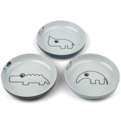 Lot de 3 assiettes à rebords Deer friends bleu et vert Yummy mini  par Done by Deer