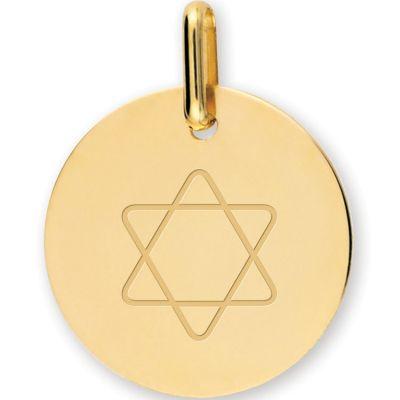 Médaille personnalisable Etoile de David (or jaune 750°)  par Lucas Lucor