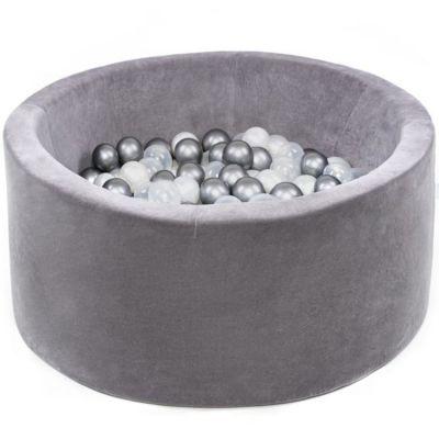 Piscine à balles ronde velours gris personnalisable (90 x 40 cm)