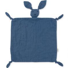 Doudou plat attache sucette Bunny bleu minéral wonder (40 cm)