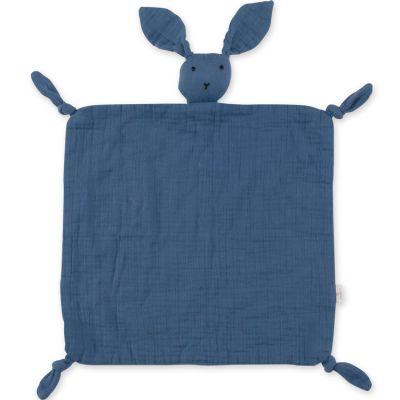 Doudou plat attache sucette Bunny bleu minéral wonder (40 cm)  par Bemini