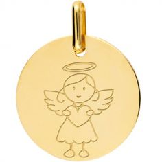 Médaille Ange fille personnalisable (or jaune 375°)