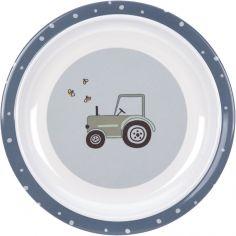 Assiette plate en mélamine Adventure tracteur