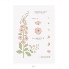 Affiche fleur Hollyhock (30 x 40 cm)