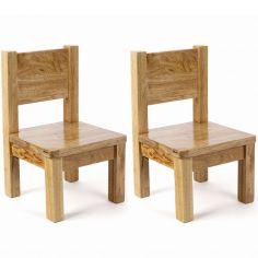 Lot de 2 chaises enfant en bois massif