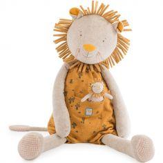 Peluche géante lion avec mini doudou Sous mon baobab (80 cm)