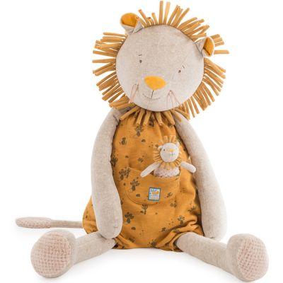 Peluche géante lion avec mini doudou Sous mon baobab (80 cm)  par Moulin Roty