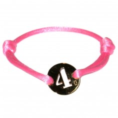 Bracelet cordon Lucky number rond 15 mm (or jaune 750°)