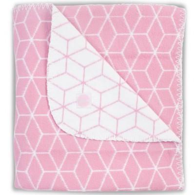 Couverture en coton graphic rose 100 x 150 cm jollein - Couverture en coton ...