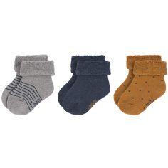Lot de 3 paires de chaussettes bébé en coton bio bleu (pointure 15-18)
