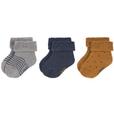 Lot de 3 paires de chaussettes bébé en coton bio bleu (pointure 15-18)  par Lässig