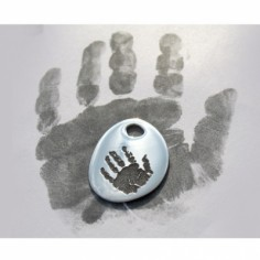 Pendentif empreinte mini galet trou rond avec cordon (argent 925°)