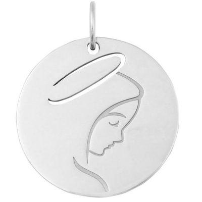 Médaille Vierge de profil (or blanc 18 carats)  par Maison La Couronne