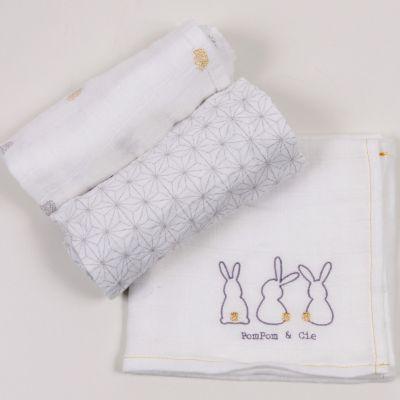 Lot de 3 langes Pompom le lapin (60 x 60 cm)  par Little Crevette