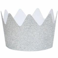 Couronnes glitter argentées (8 pièces)