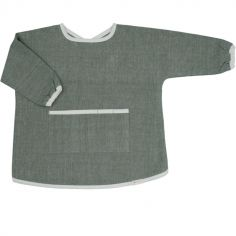 Bavoir manches longues chambray olive