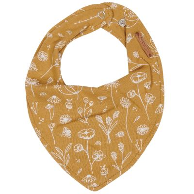 Bavoir bandana Wild Flowers ocre  par Little Dutch