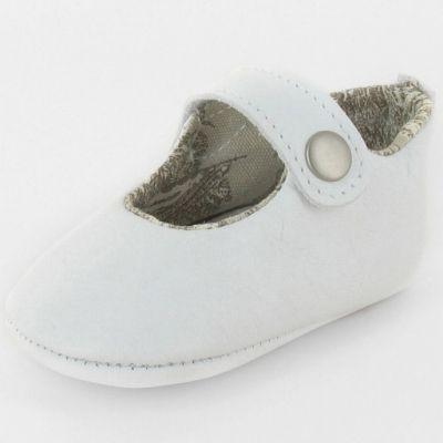 Chaussons baptême bébé prestige ballerine Marquise cuir blanc (0-6 mois)  par Le Petit Fils du cordonnier